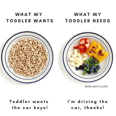 L'immagine divisa, a sinistra, è ciò di cui ha bisogno il mio bambino, cereali e latte.  Sul lato destro c'è ciò di cui mio figlio ha bisogno, formaggio, frutta, vegano che mostra cosa fare se tuo figlio non mangia e devi fornire scelte salutari