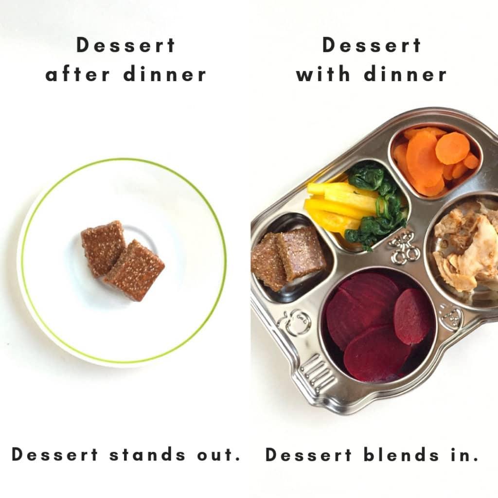 Immagine divisa.  Sulla sinistra c'è una barretta di dessert che viene servita dopo cena, il che può far sì che un bambino non mangi il cibo.  A destra c'è un piatto piano in latta per muffin con dessert incluso nel pasto.