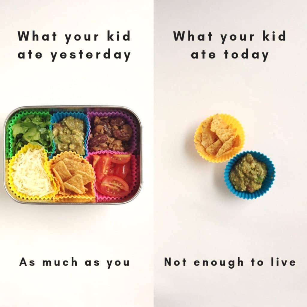 L'immagine divisa, sulla sinistra è una scatola per il pranzo piena con scomparti per vari ripieni di taco e patatine nacho.  Sul lato destro c'è un'immagine di patatine e guacamole che mostra che non è normale per un bambino mangiare un giorno ma mangiare quello successivo